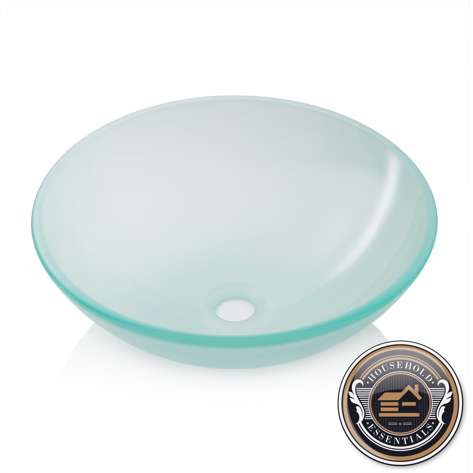 Details About Modern Glass Vessel Sink   Bathroom Vanity Bowl   Round  Frosted