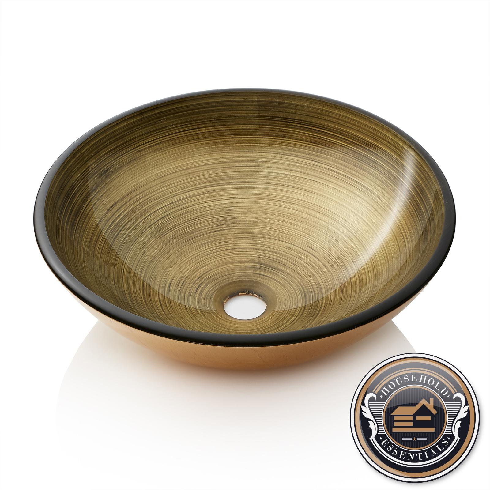 Details About Modern Glass Vessel Sink   Bathroom Vanity Bowl   Round Gold  Foil Leaf
