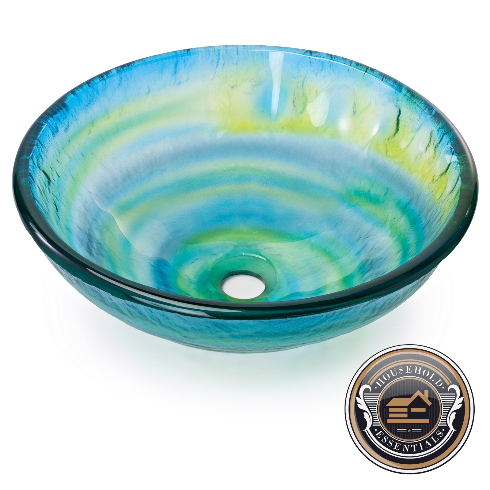 Modern Glass Vessel Sink Bathroom Vanity Bowl Round Blue Green