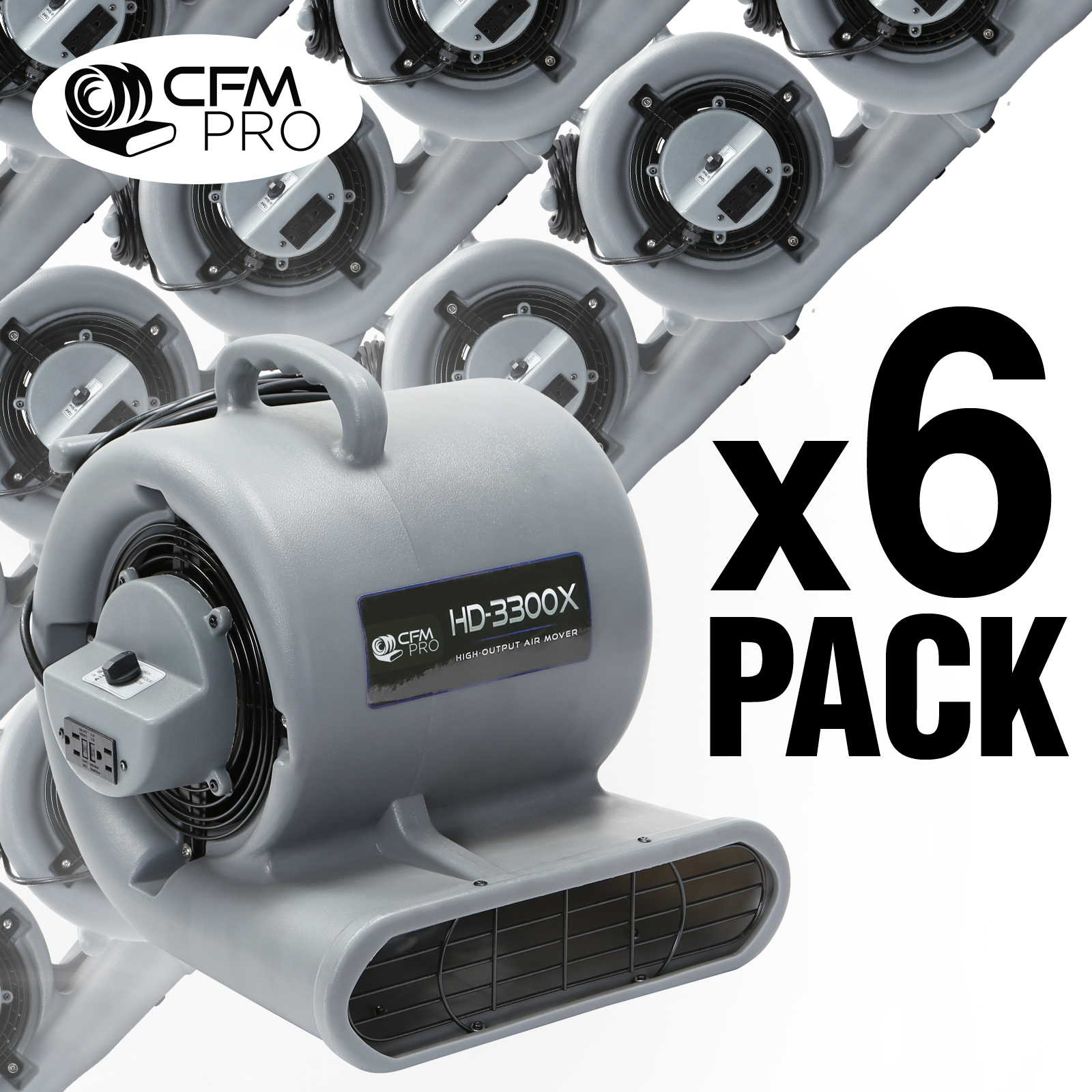 Air Mover 3 Speed 1//3 HP Blower Fan 2 GFCI Outlets Industrial 6 Pack Grey