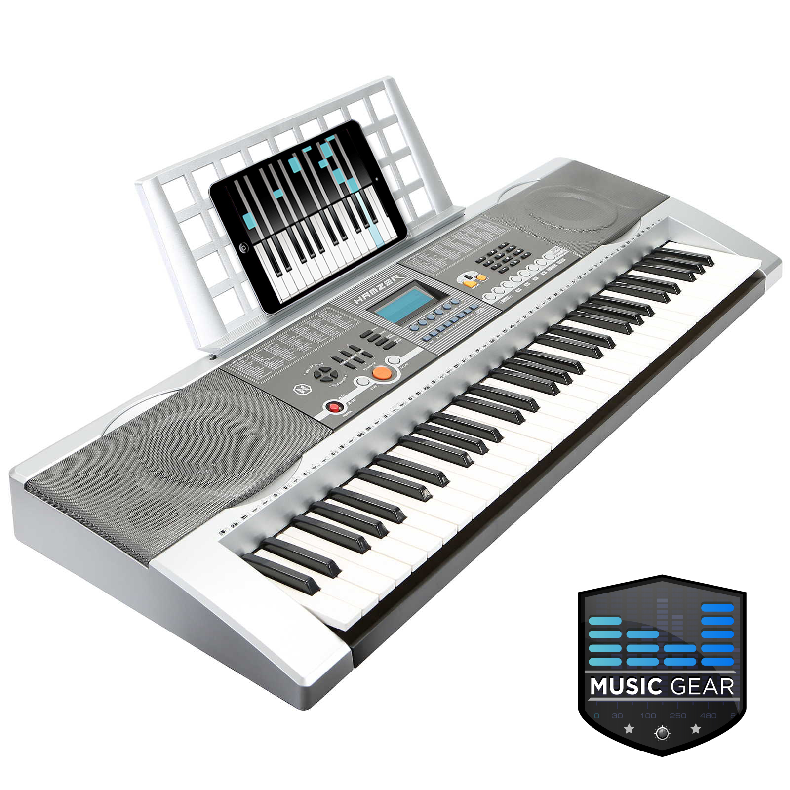 61 key electronic music electric keyboard piano usb silver ebay. Black Bedroom Furniture Sets. Home Design Ideas