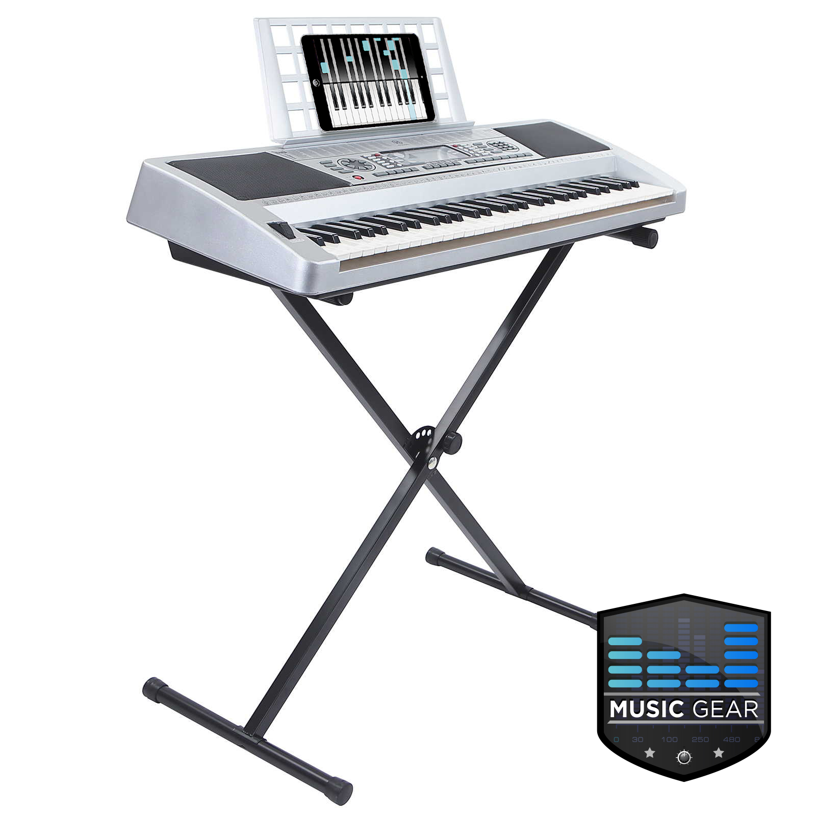 61 key digital midi electronic music electric keyboard piano with stand silver ebay. Black Bedroom Furniture Sets. Home Design Ideas