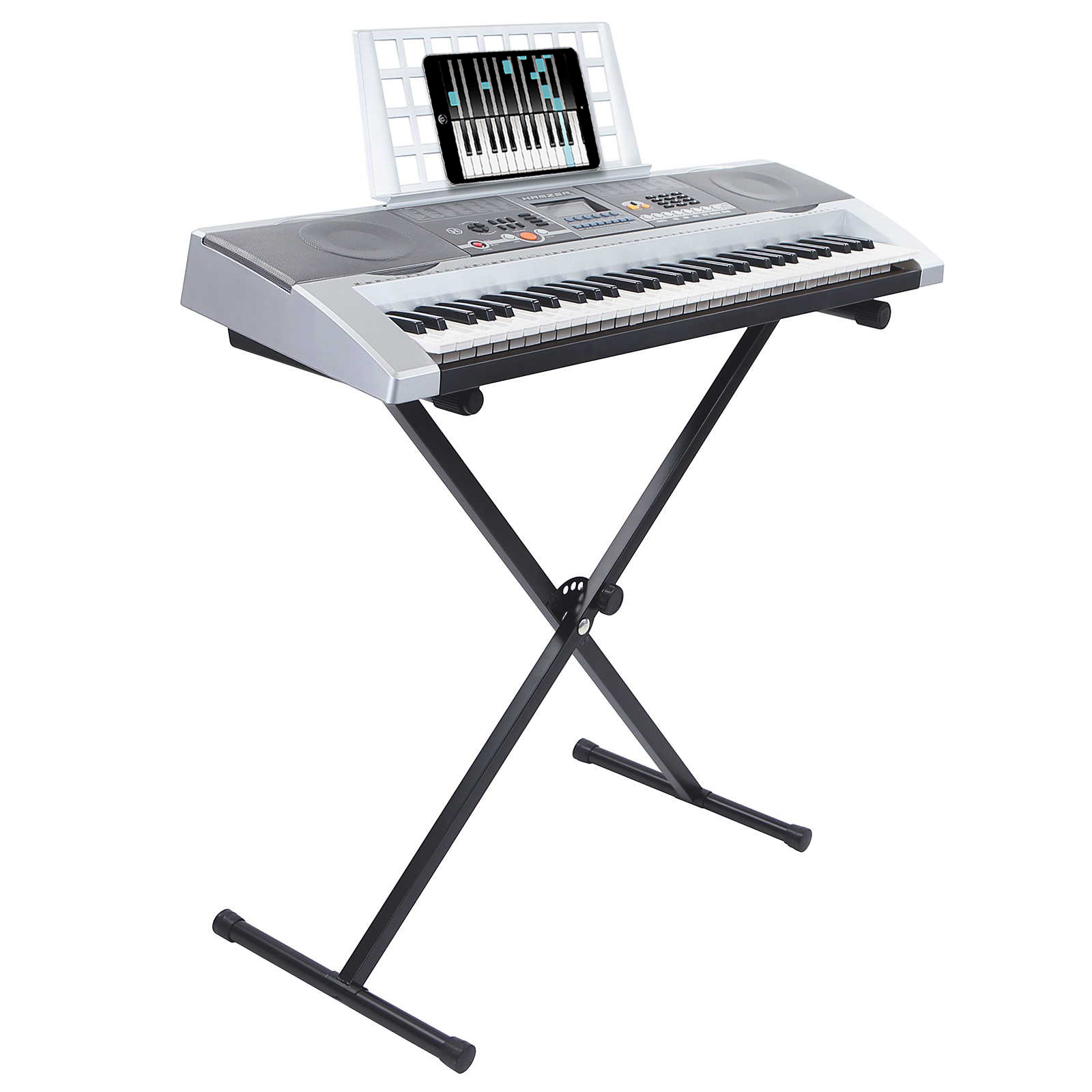 61 key electronic piano electric organ usb keyboard with stand silver ebay. Black Bedroom Furniture Sets. Home Design Ideas