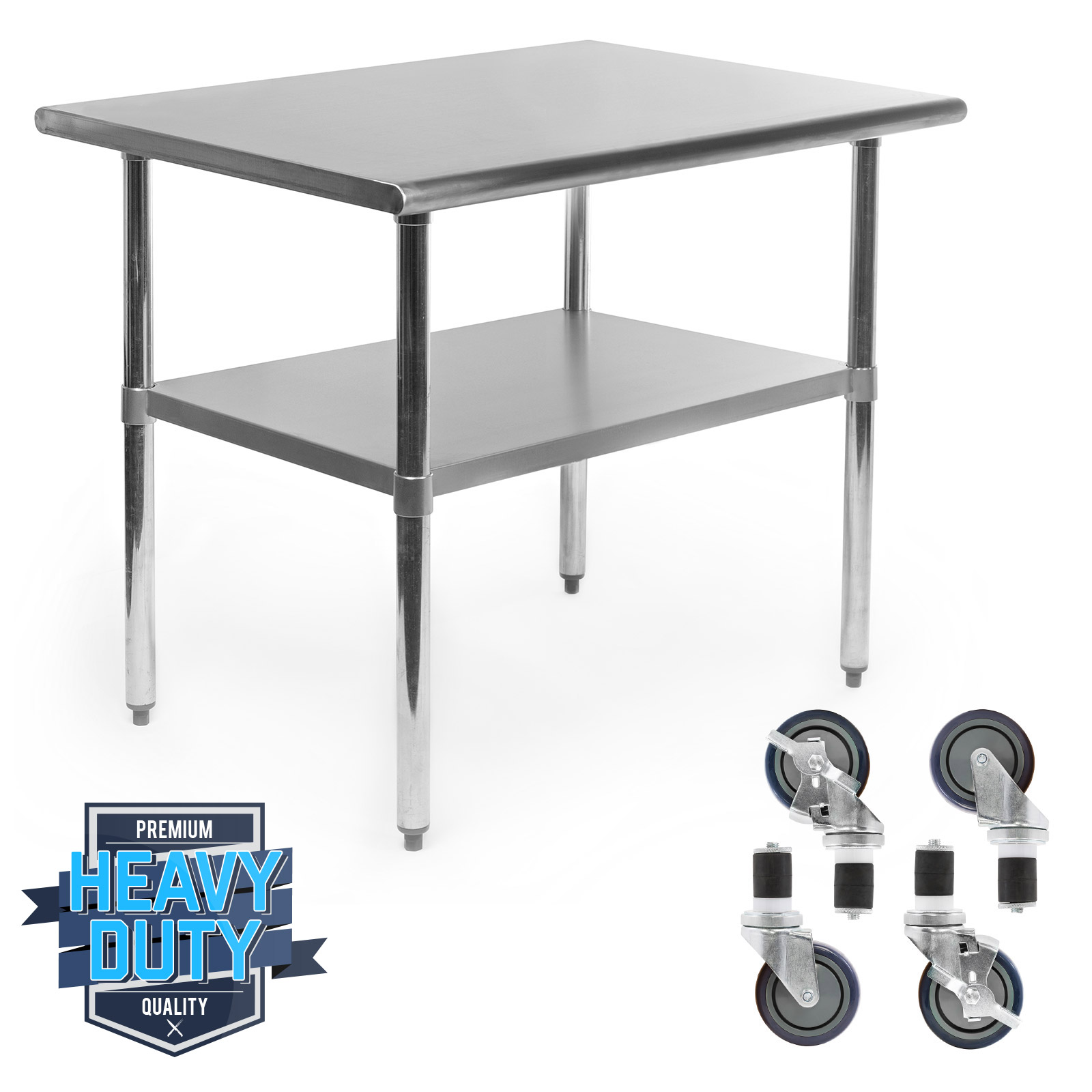 """Kitchen Table With Food: Stainless Steel Commercial Kitchen Work Food Prep Table W/ 4 Casters - 24"""" X 36"""" 700256575443"""