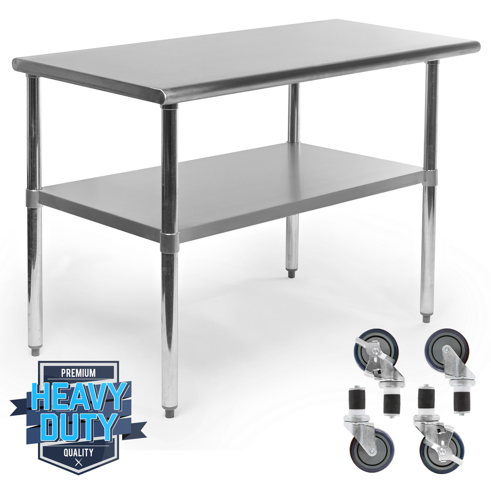 Stainless Steel Commercial Kitchen Work Food Prep Table w/ 4 Casters ...