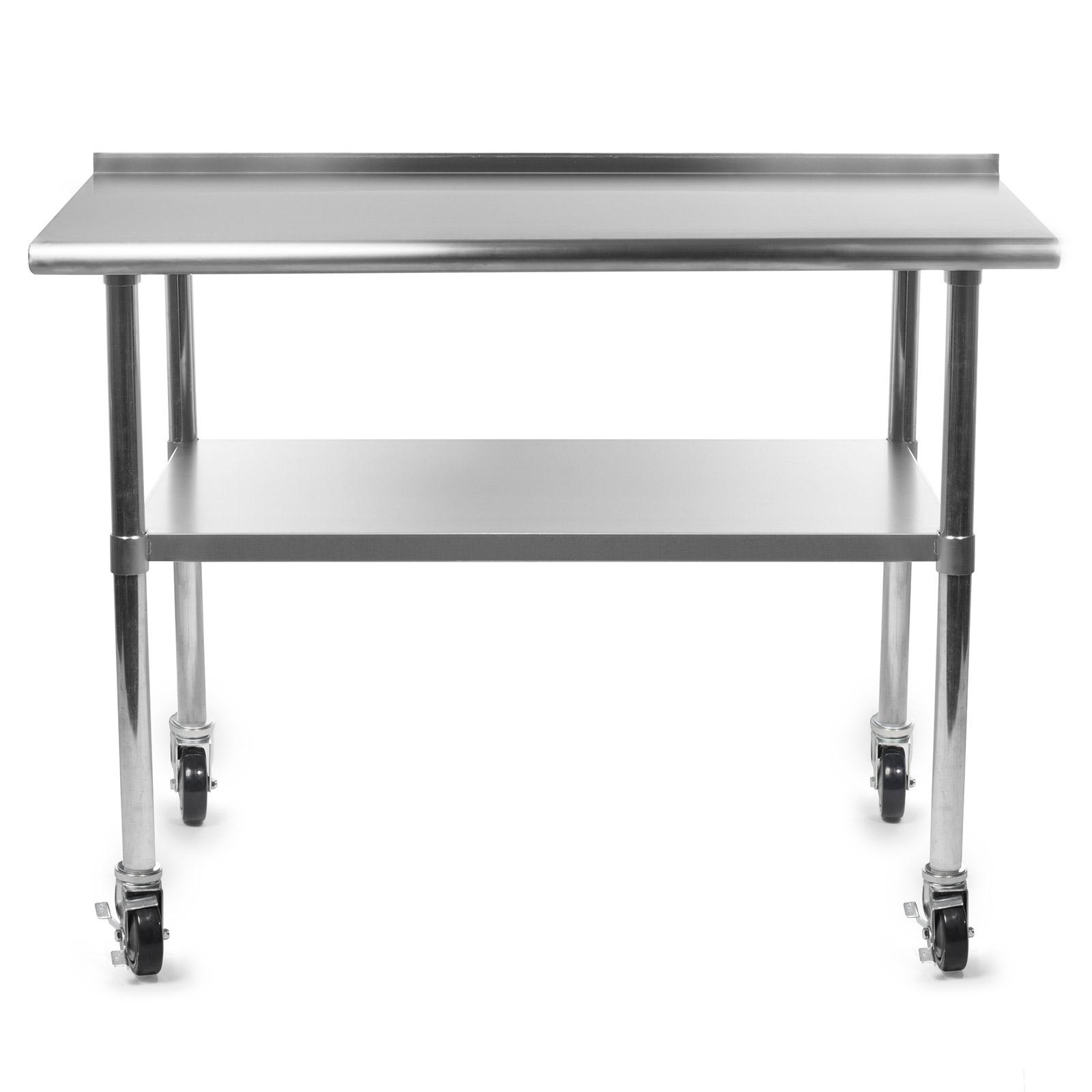 Stainless Kitchen Restaurant Prep Table W/ Backsplash And