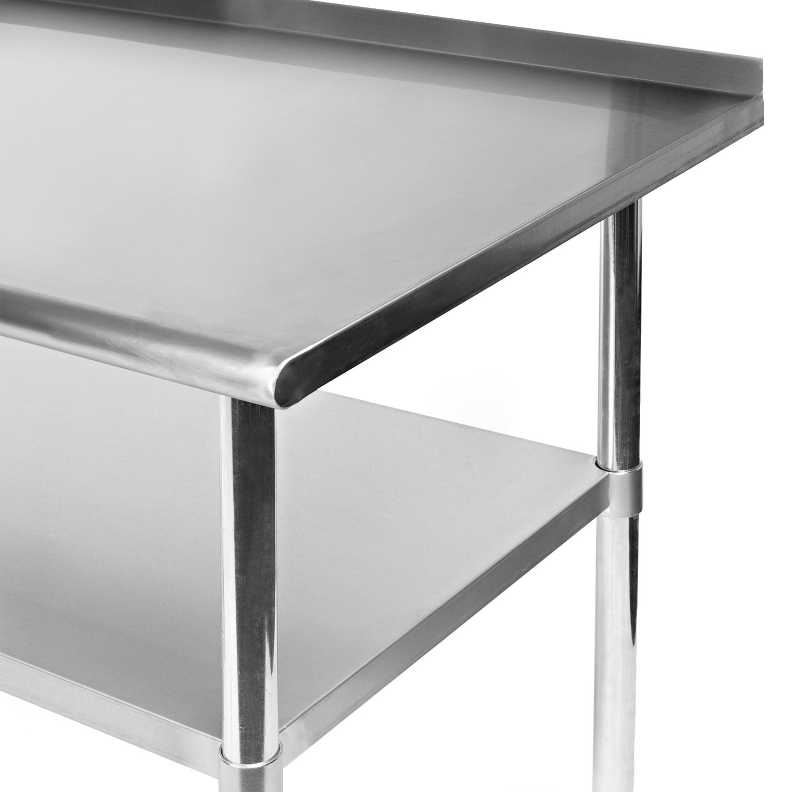 stainless kitchen restaurant prep table w backsplash and 4 casters 30 x 72 ebay. Black Bedroom Furniture Sets. Home Design Ideas