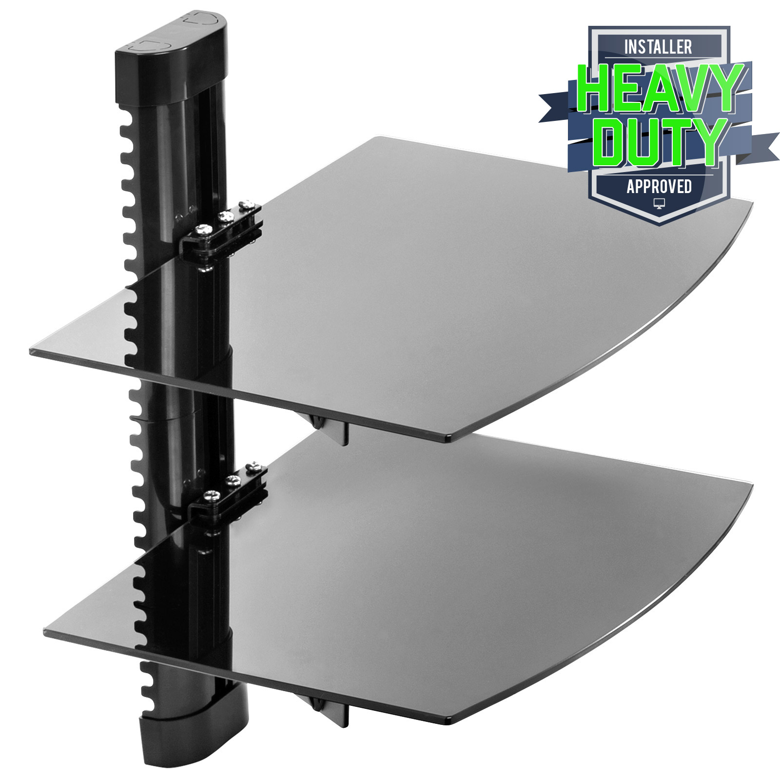 Floating Wall Mount 2 Shelf Av Dvd Component Console Glass Stand