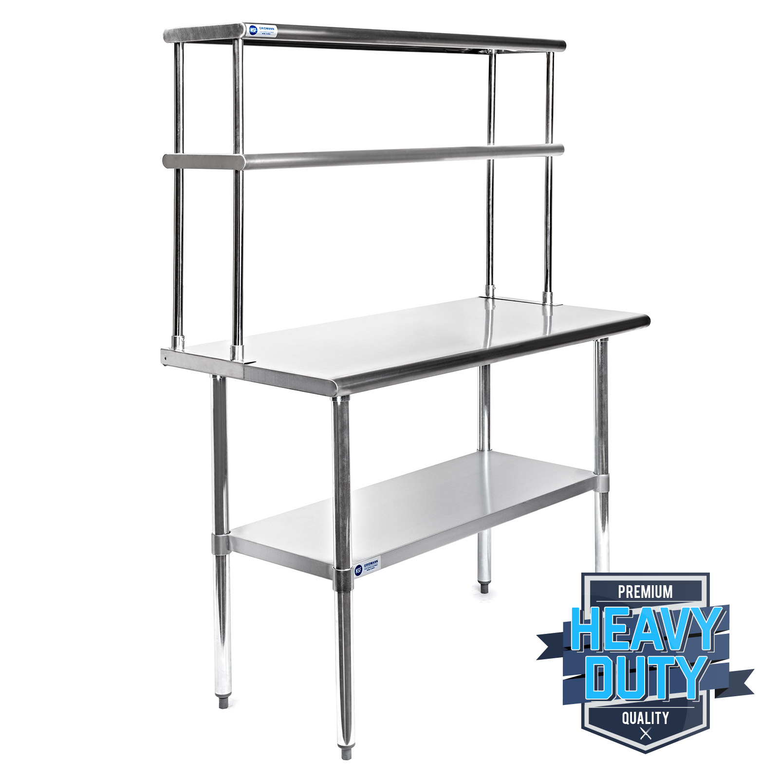 STAINLESS STEEL COMMERCIAL Kitchen Prep Table with Double Overshelf ...