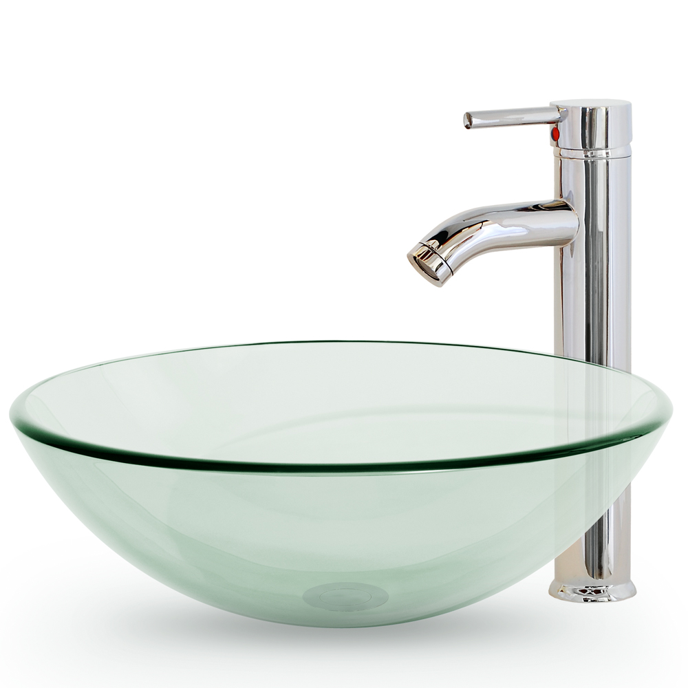 Bathroom Vessel Sink Clear Tempered Glass With Faucet And