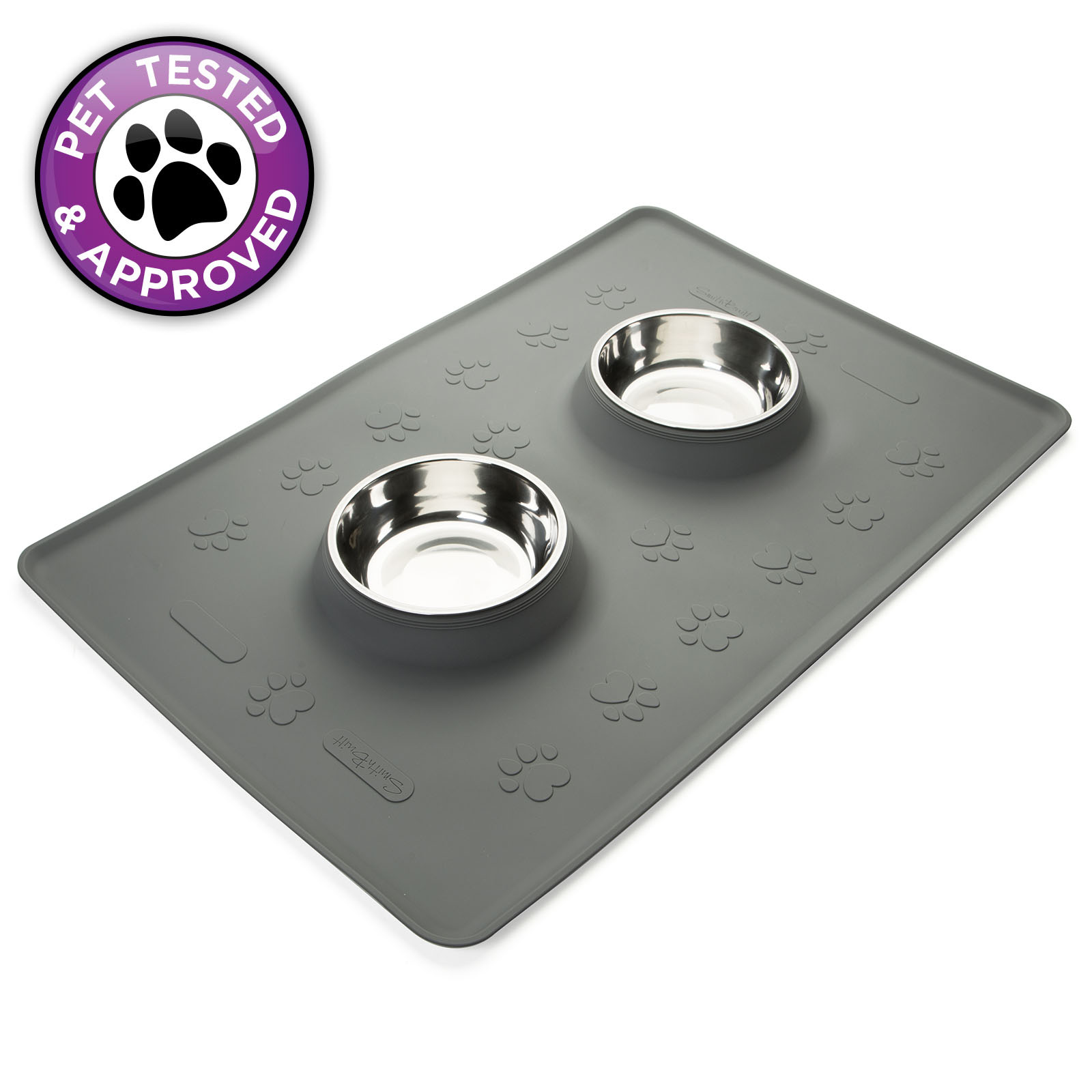 """OPEN BOX - Large Pet Food Mat 24"""" x 16"""" Dog or Cat with Stainless Steel Bowls"""