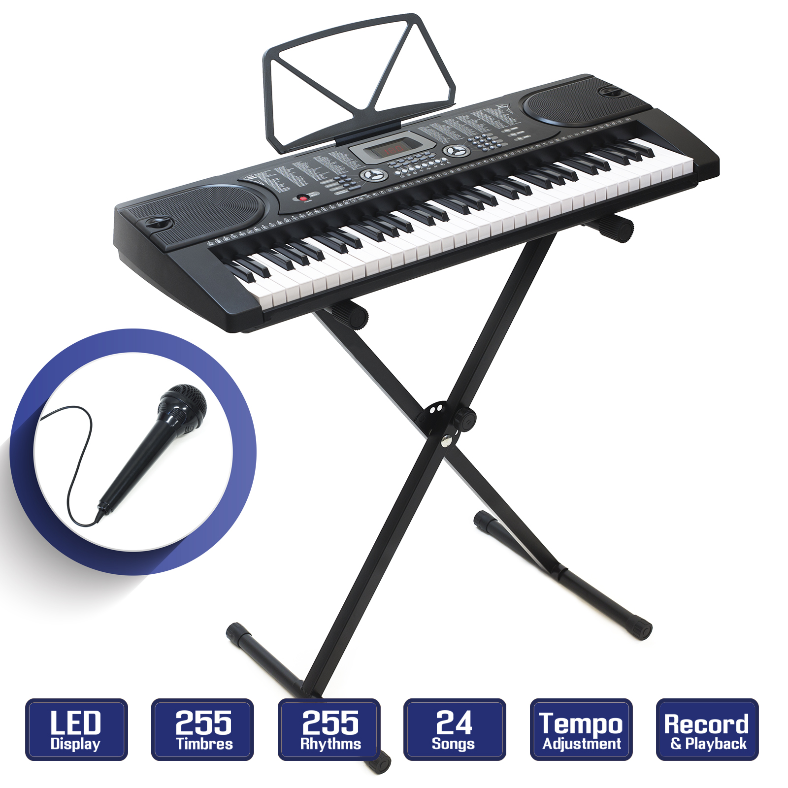b48f40b4720 Details about Digital Piano Keyboard 61 Key - Portable Electronic  Instrument with Stand