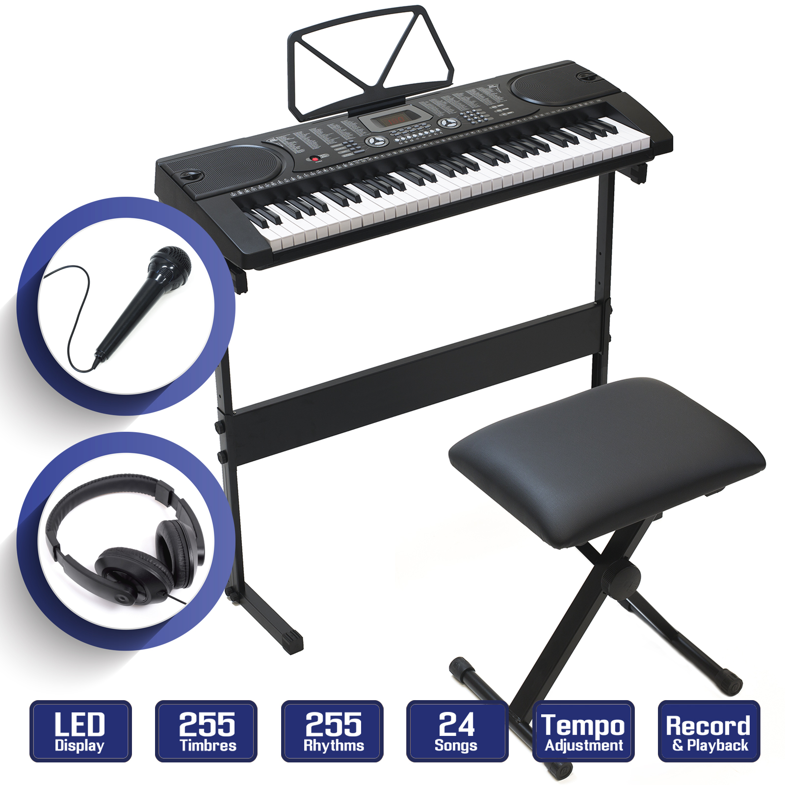 a29f53be73c Details about Digital Piano Keyboard 61 Key - Electronic Keyboard w Stand  Stool Headphones