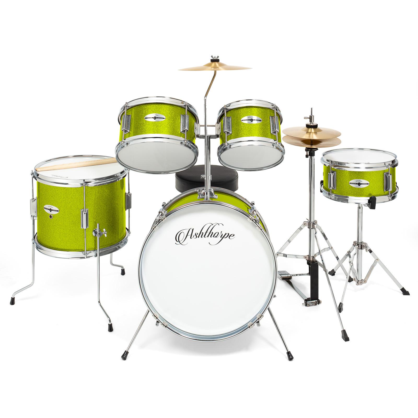 5 piece junior drum set with brass cymbals children kid starter kit ebay. Black Bedroom Furniture Sets. Home Design Ideas
