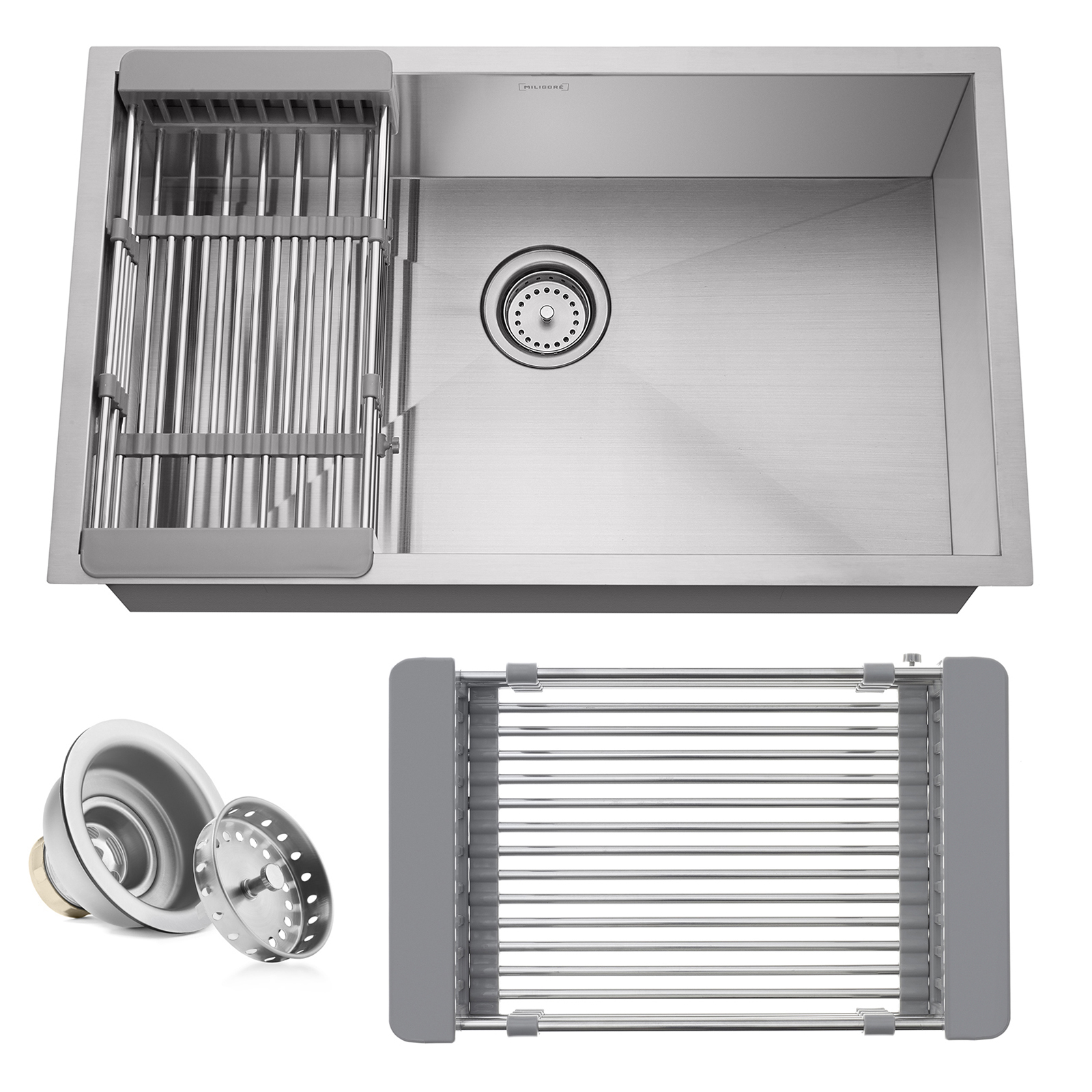 Details About 30 X18 X9 Stainless Steel Single Bowl Undermount Kitchen Sink Basin With Rack