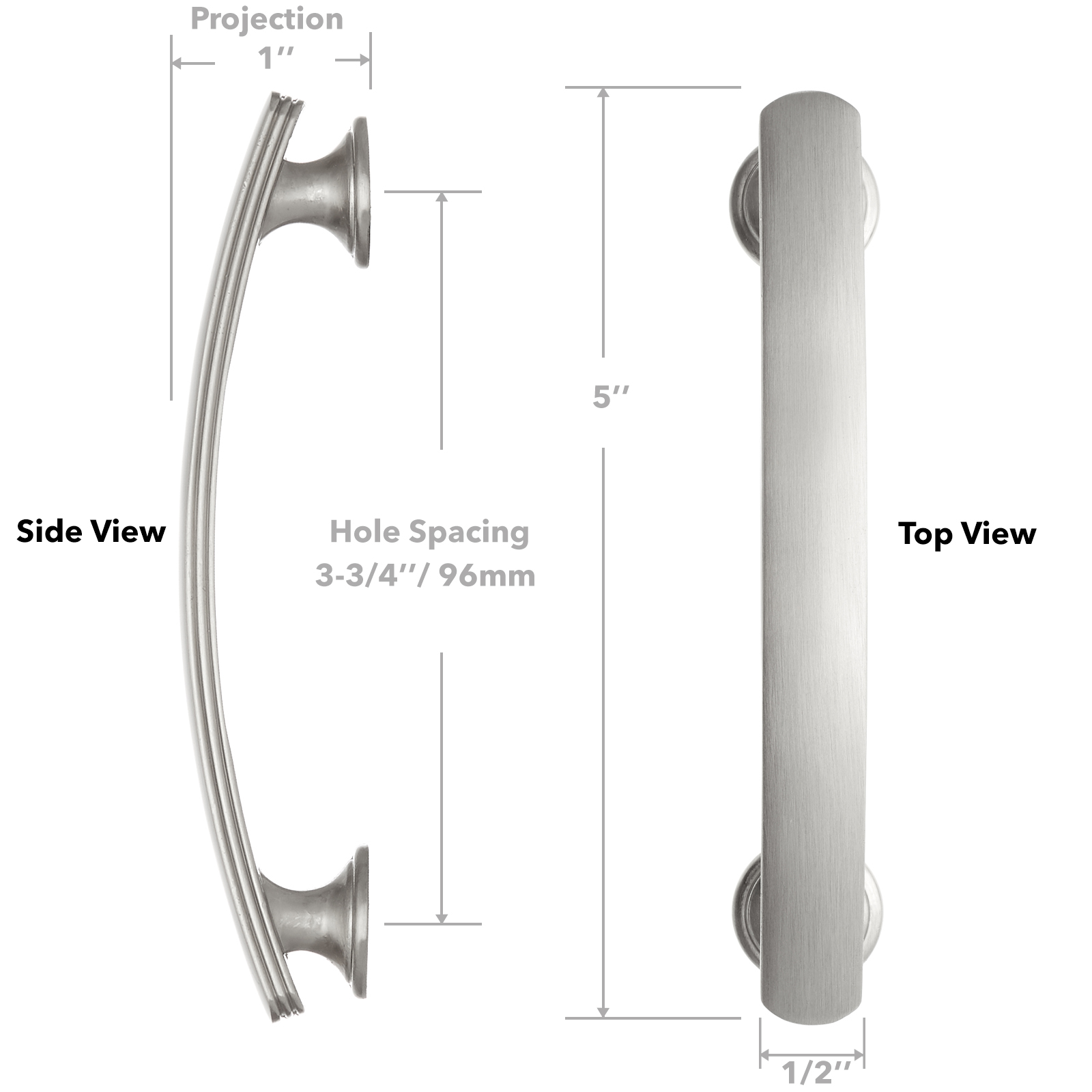 """thumbnail 6 - Satin Nickel 3-3/4"""" Curved Arch Kitchen Cabinet Handles Pulls Hardware"""