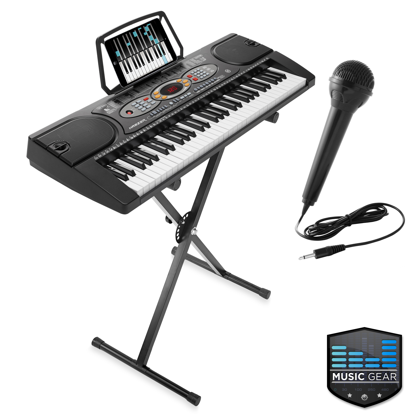 61 key electronic keyboard portable digital music piano with usb mic and stand ebay. Black Bedroom Furniture Sets. Home Design Ideas