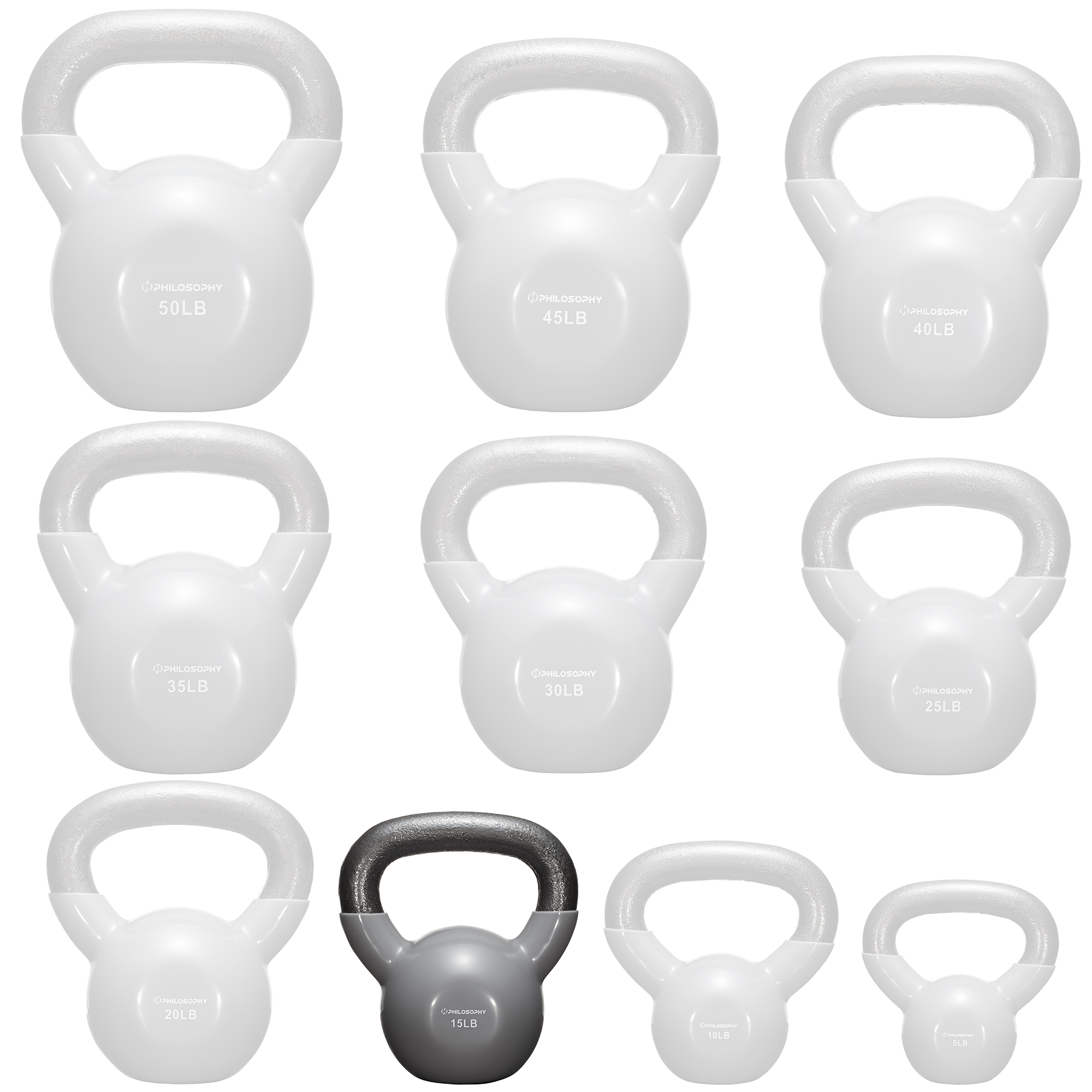 thumbnail 17 - Vinyl Coated Cast Iron Kettlebell, 5 lbs to 50 Pound Weights