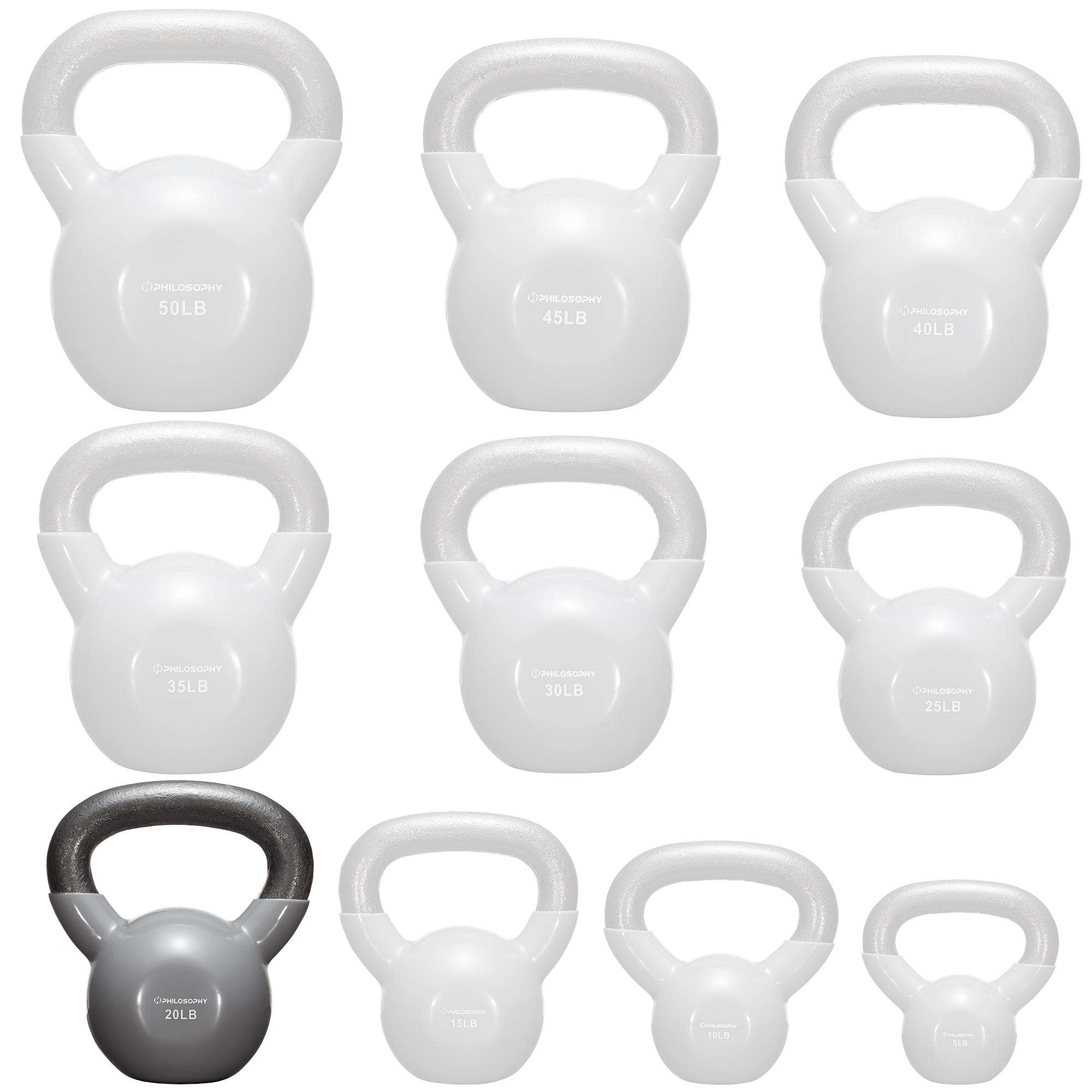 thumbnail 28 - Vinyl Coated Cast Iron Kettlebell, 5 lbs to 50 Pound Weights