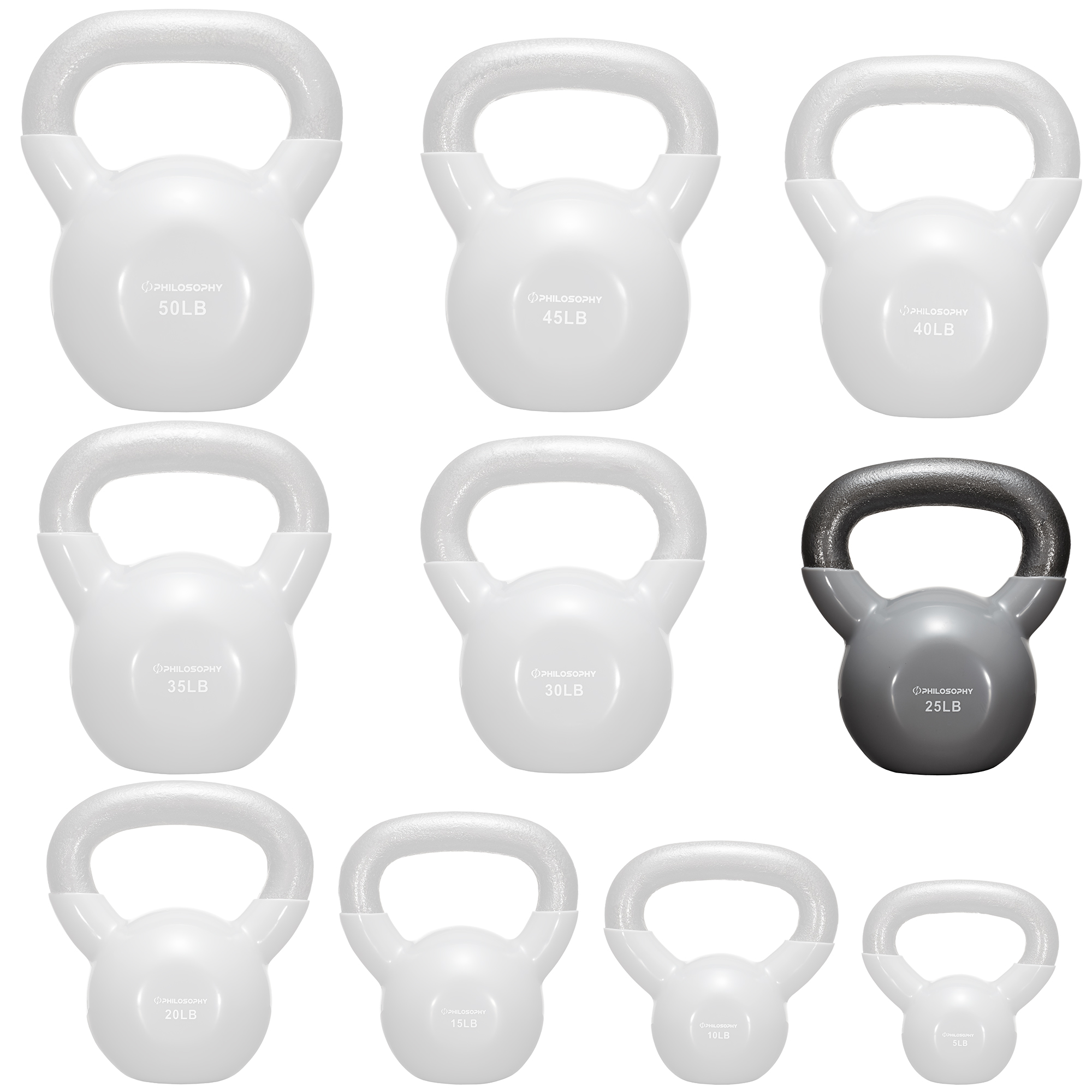 thumbnail 39 - Vinyl Coated Cast Iron Kettlebell, 5 lbs to 50 Pound Weights