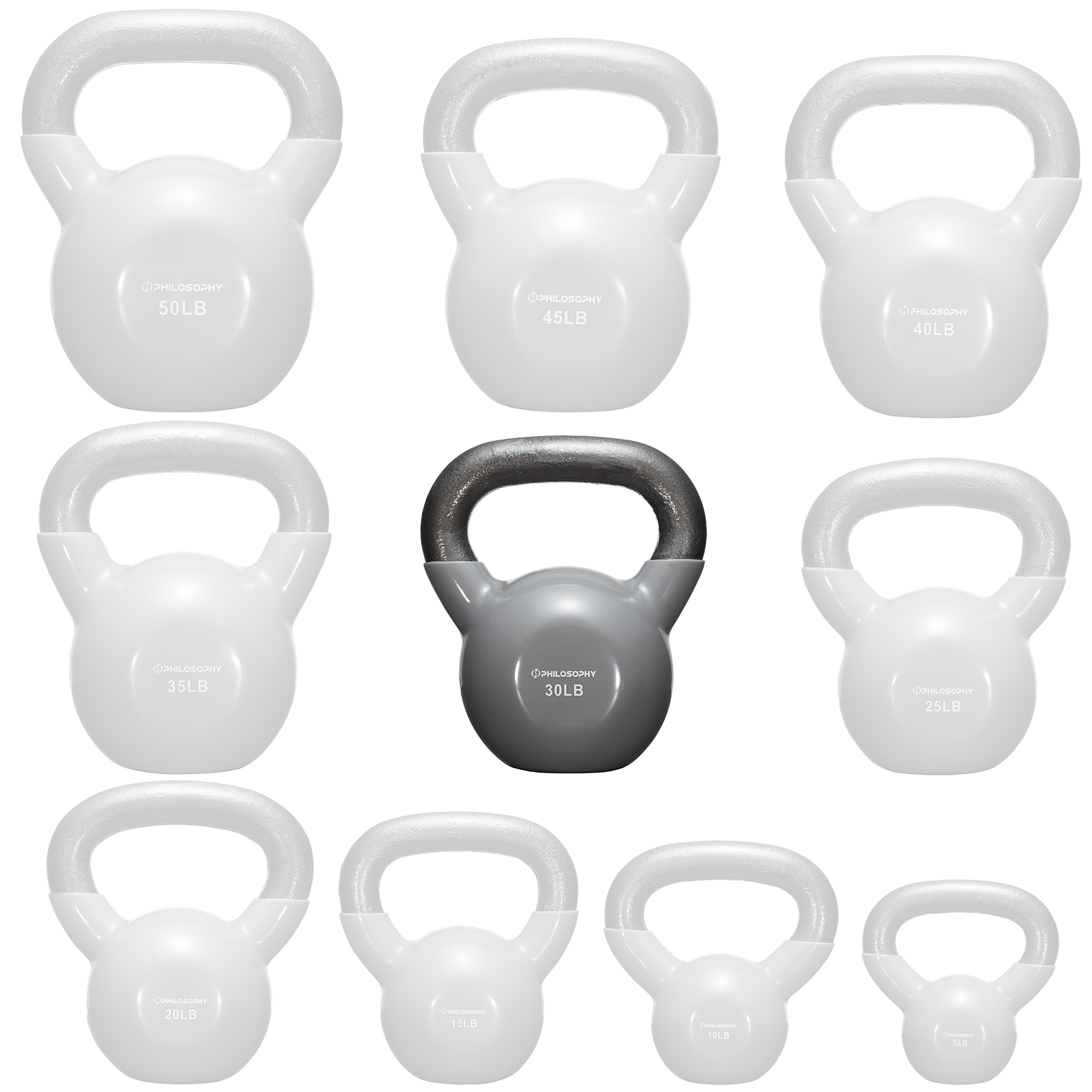thumbnail 50 - Vinyl Coated Cast Iron Kettlebell, 5 lbs to 50 Pound Weights