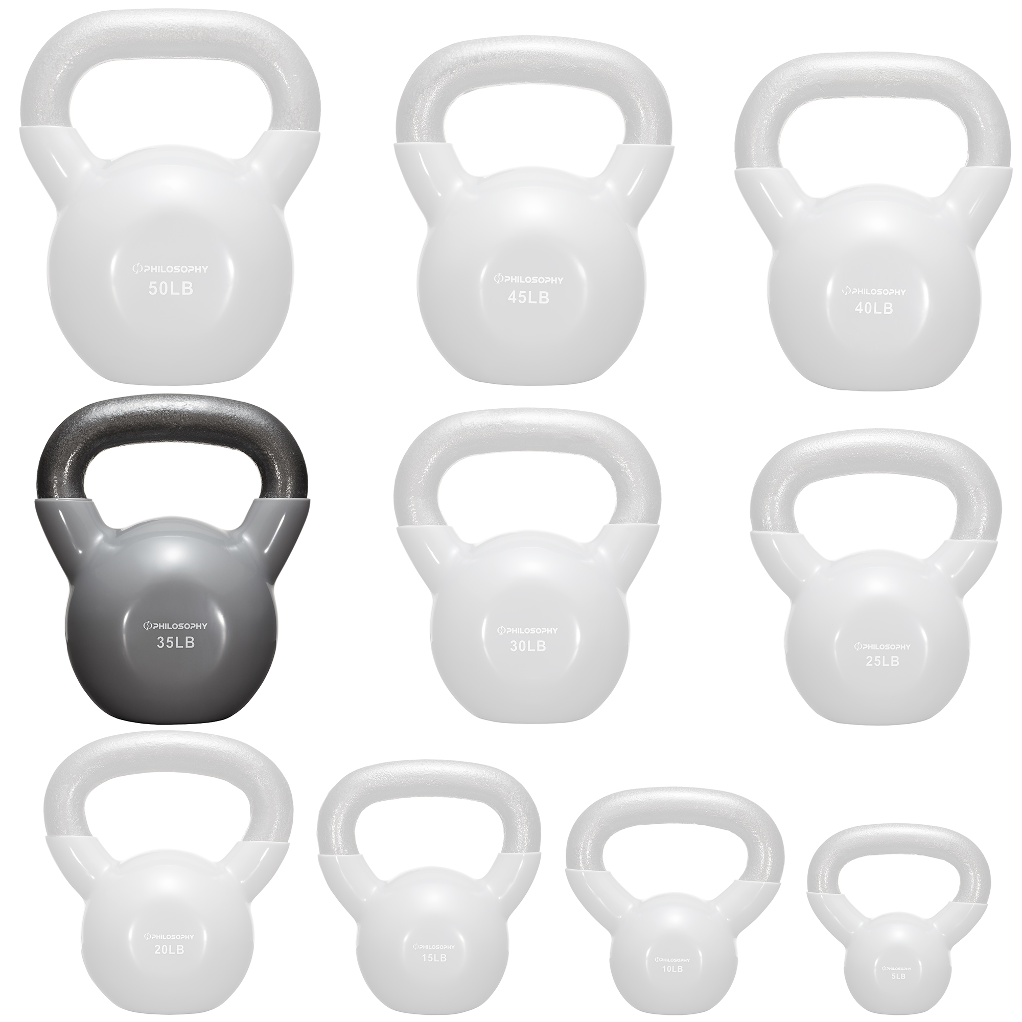 thumbnail 61 - Vinyl Coated Cast Iron Kettlebell, 5 lbs to 50 Pound Weights