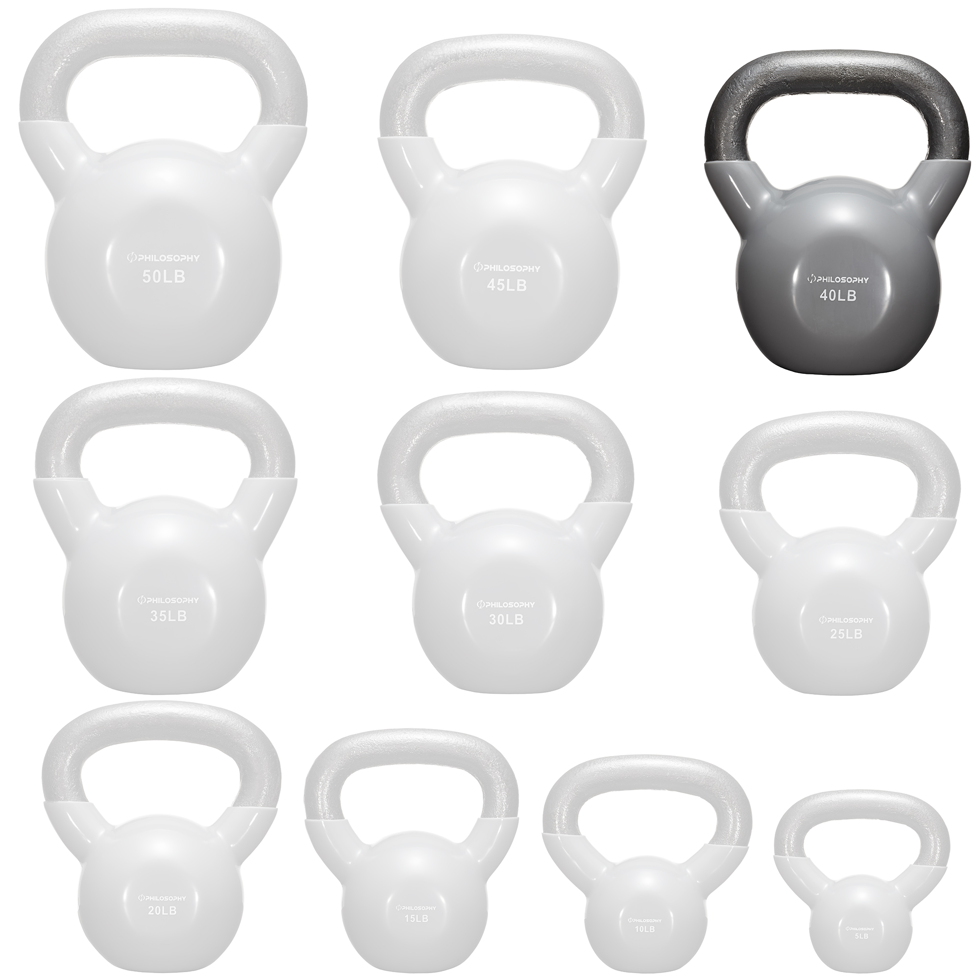 thumbnail 72 - Vinyl Coated Cast Iron Kettlebell, 5 lbs to 50 Pound Weights