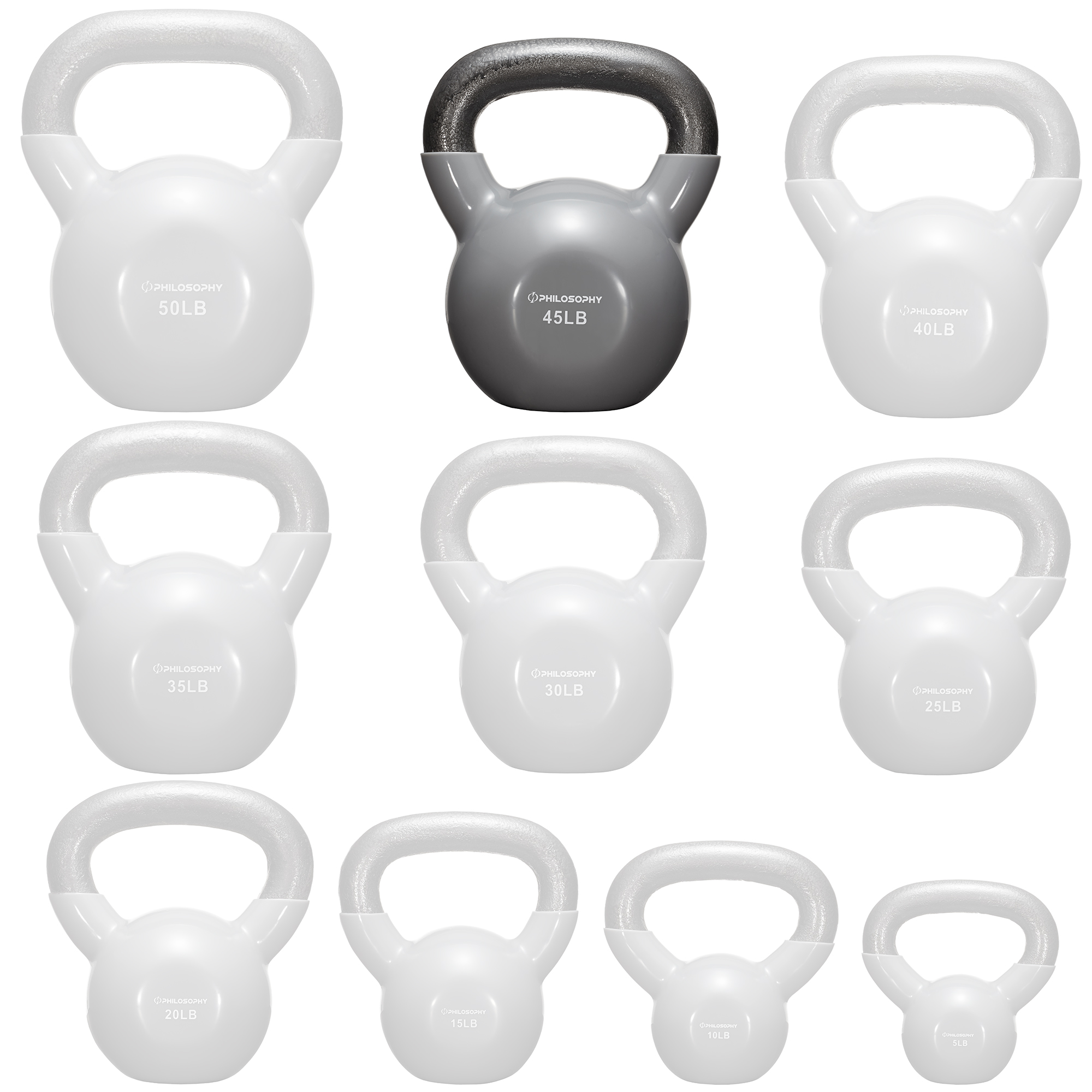thumbnail 83 - Vinyl Coated Cast Iron Kettlebell, 5 lbs to 50 Pound Weights