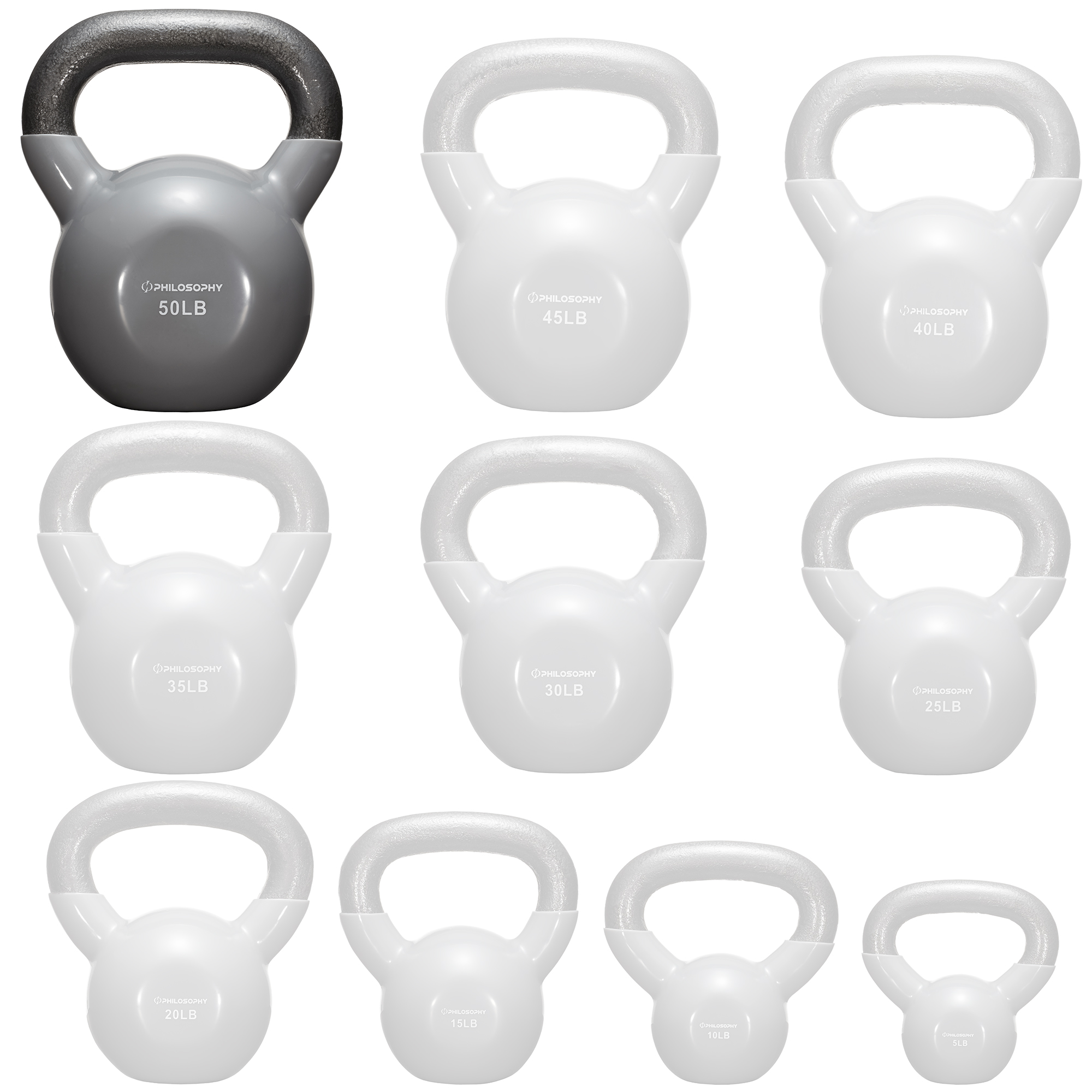 thumbnail 105 - Vinyl Coated Cast Iron Kettlebell, 5 lbs to 50 Pound Weights
