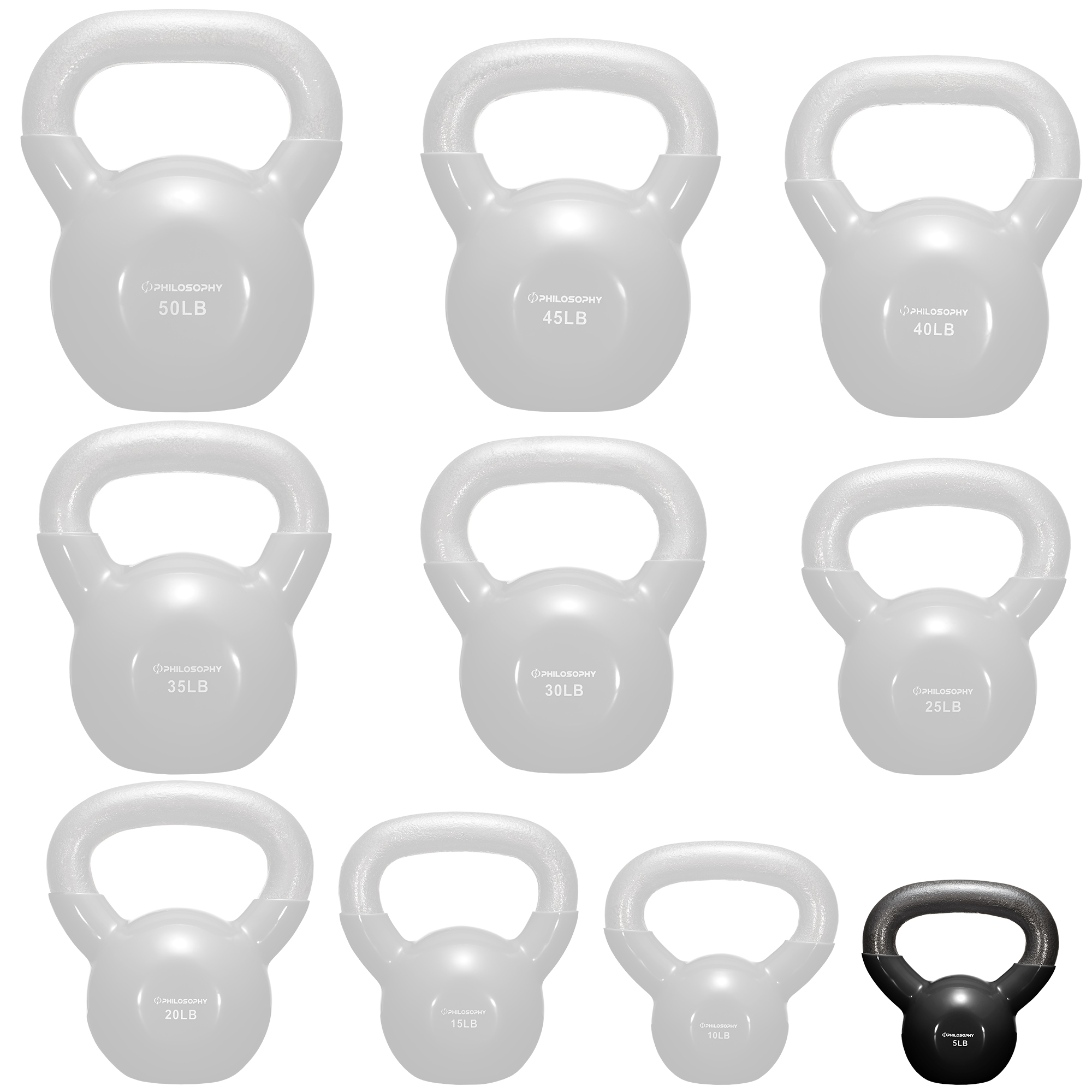 thumbnail 100 - Vinyl Coated Cast Iron Kettlebell, 5 lbs to 50 Pound Weights