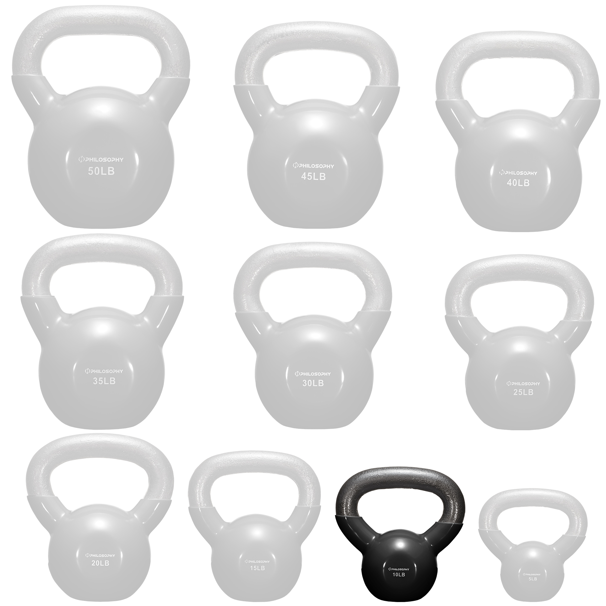 thumbnail 12 - Vinyl Coated Cast Iron Kettlebell, 5 lbs to 50 Pound Weights