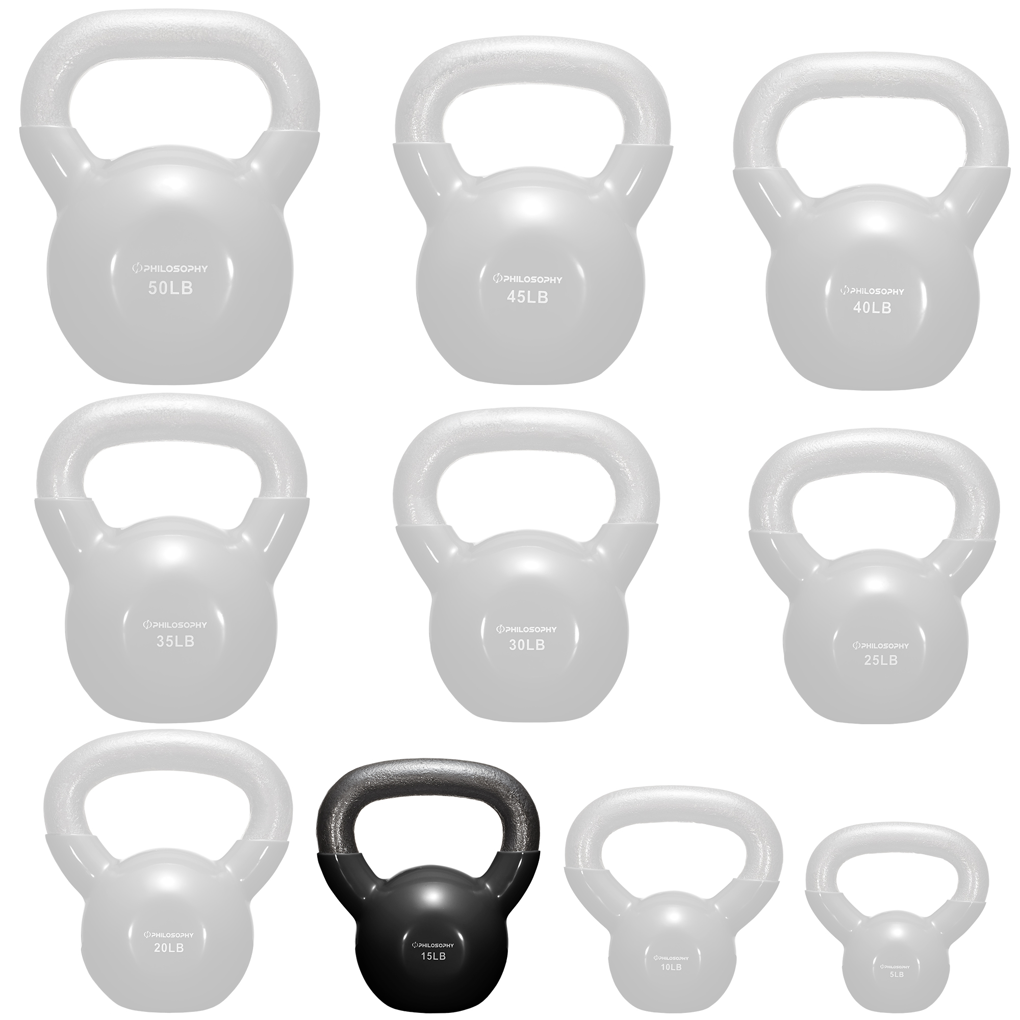 thumbnail 23 - Vinyl Coated Cast Iron Kettlebell, 5 lbs to 50 Pound Weights