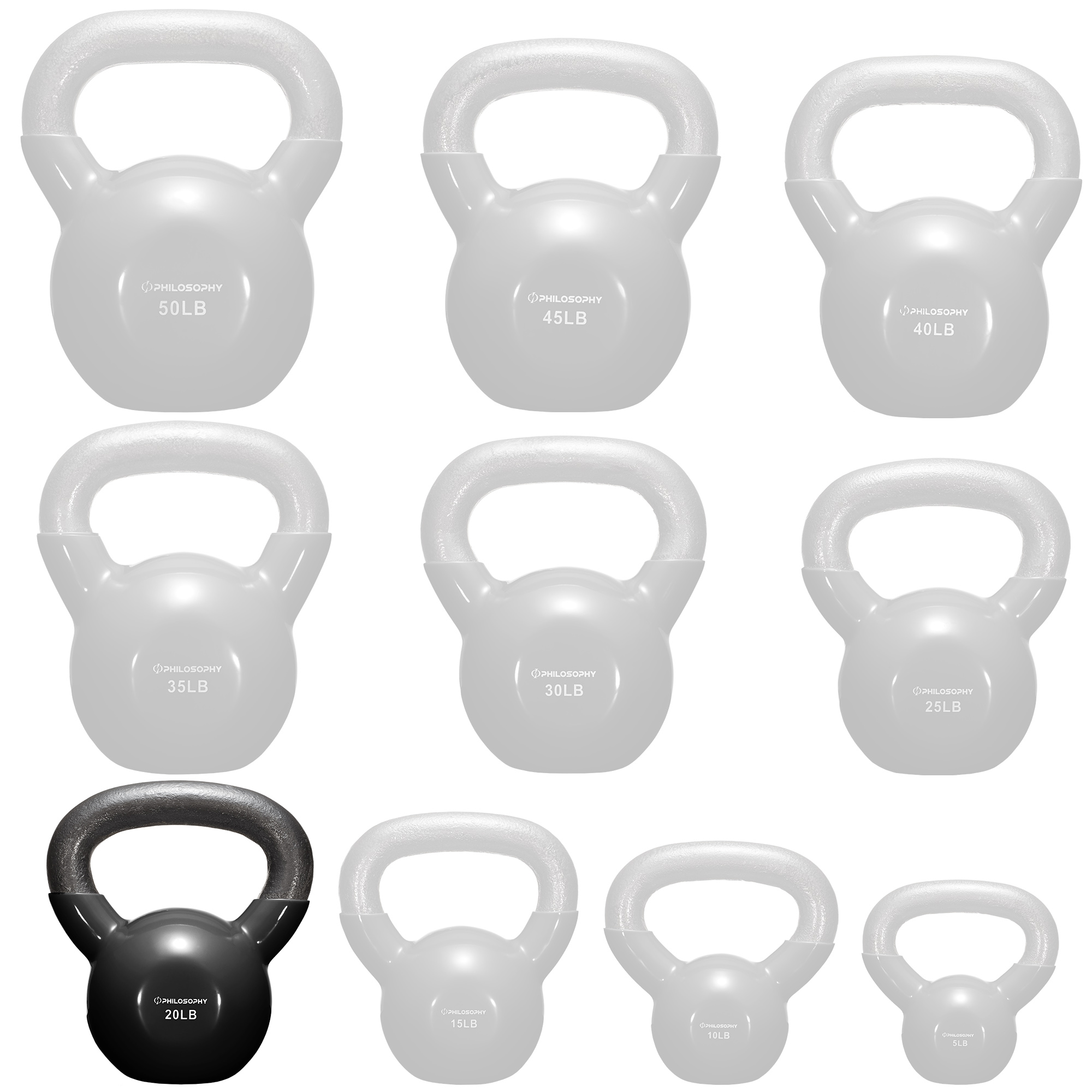 thumbnail 34 - Vinyl Coated Cast Iron Kettlebell, 5 lbs to 50 Pound Weights
