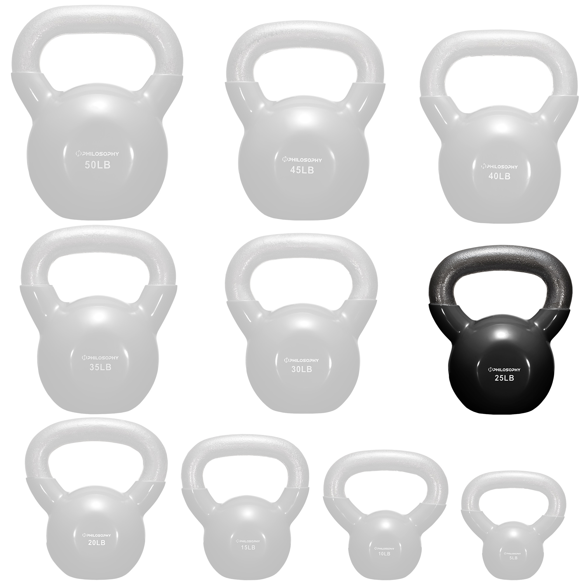 thumbnail 45 - Vinyl Coated Cast Iron Kettlebell, 5 lbs to 50 Pound Weights