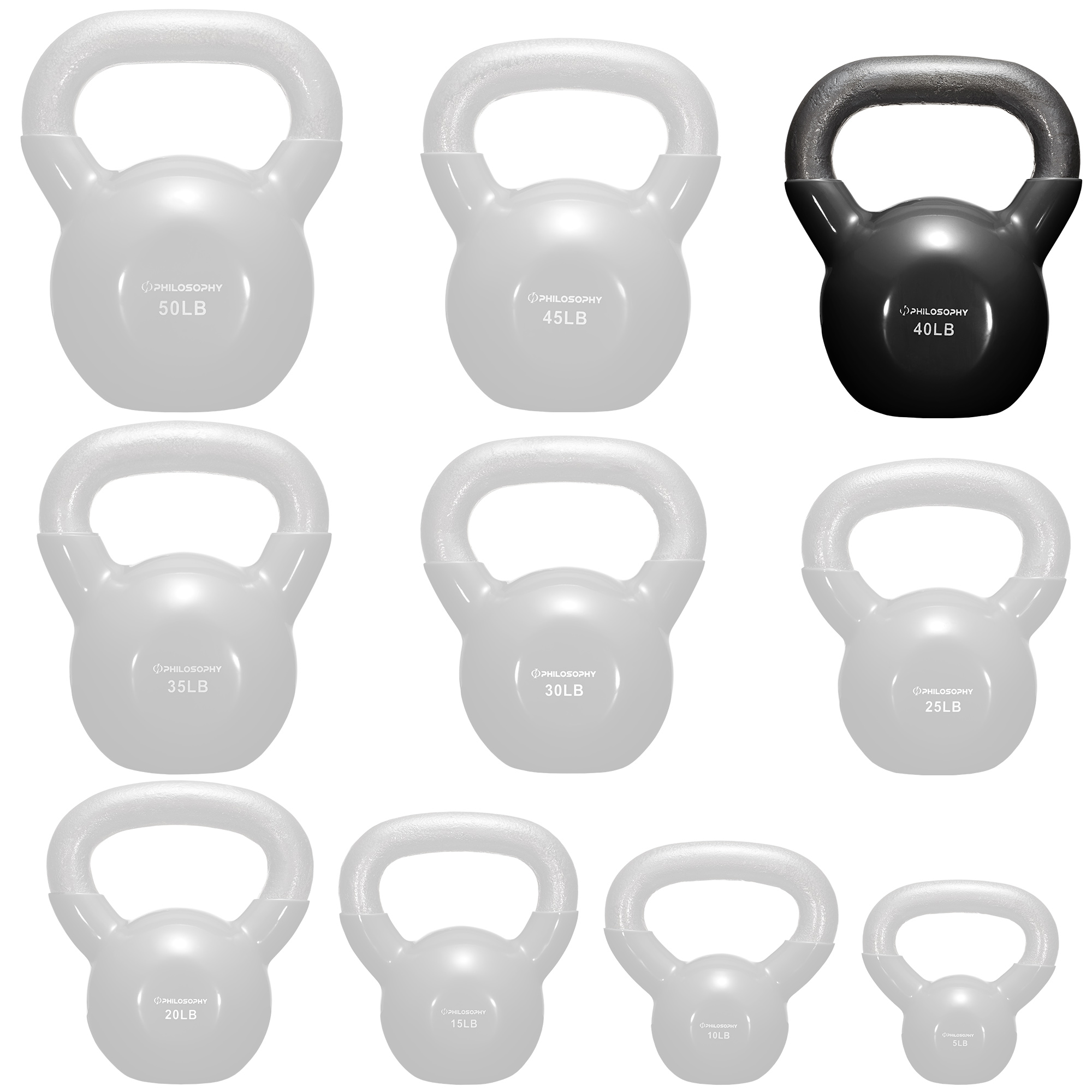 thumbnail 78 - Vinyl Coated Cast Iron Kettlebell, 5 lbs to 50 Pound Weights