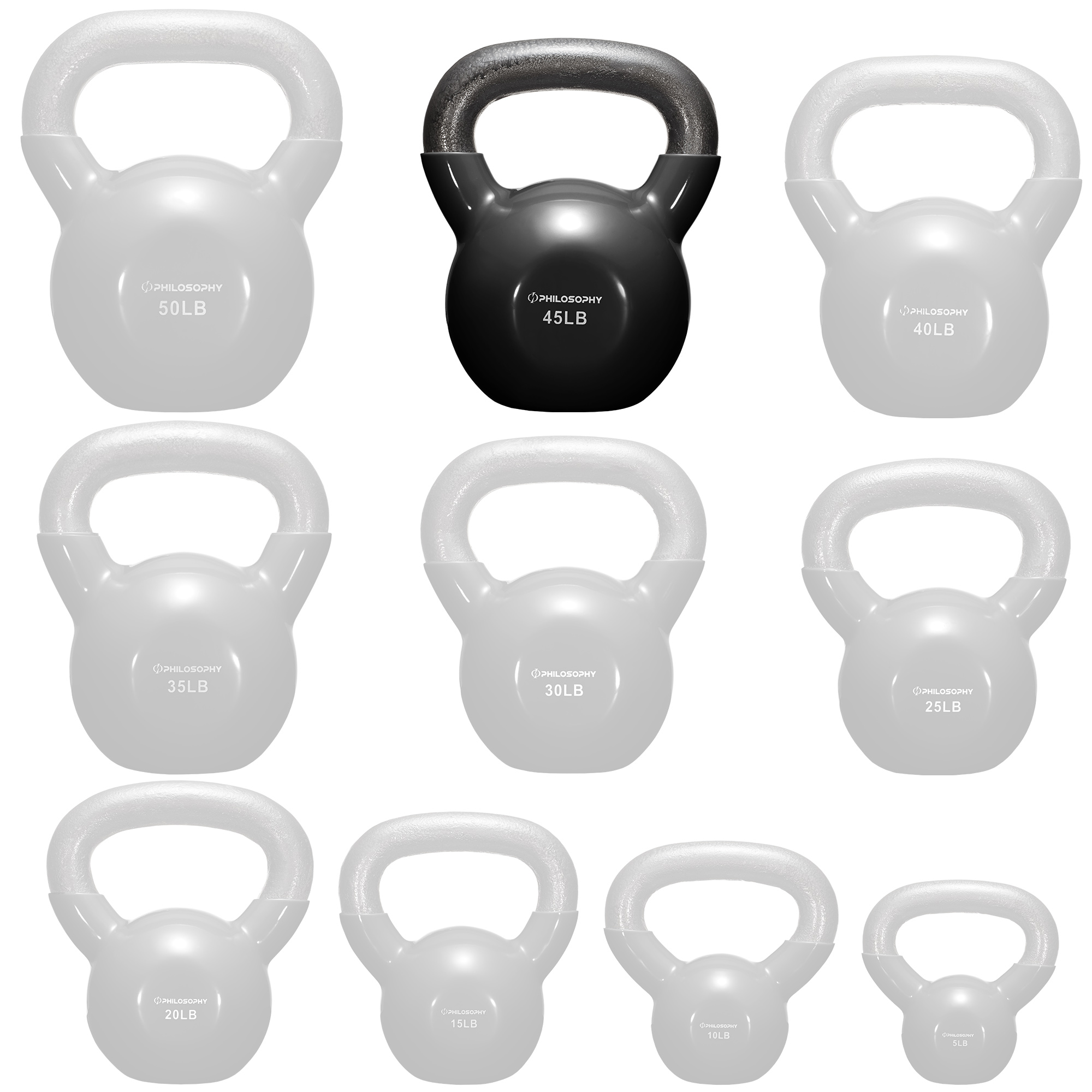 thumbnail 89 - Vinyl Coated Cast Iron Kettlebell, 5 lbs to 50 Pound Weights