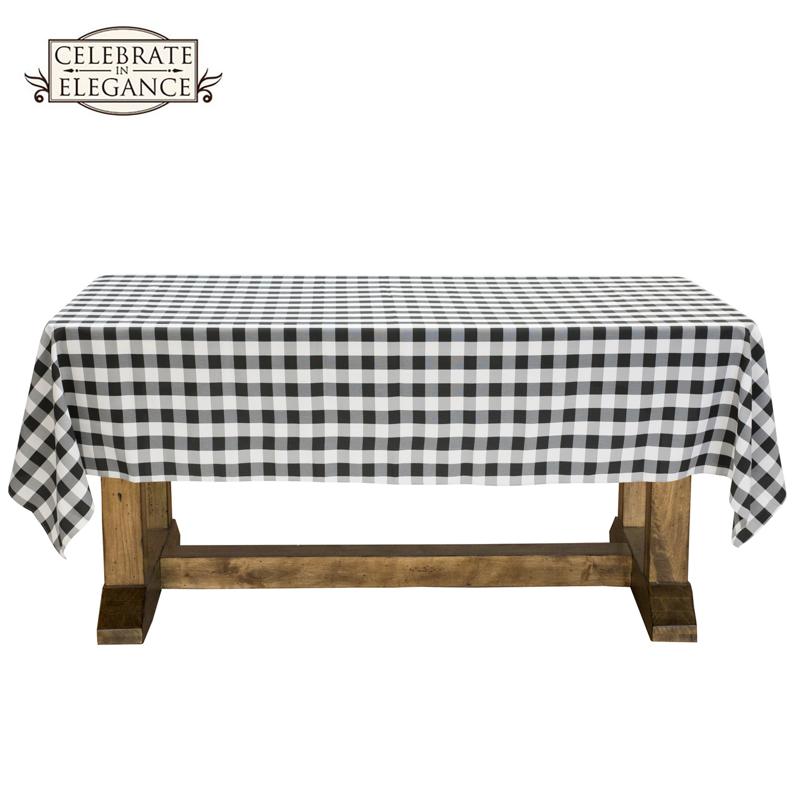 Delicieux Black And White Checkered Tablecloth Polyester Picnic Table