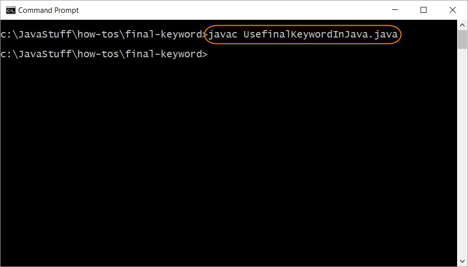 Compile Program with final Keyword