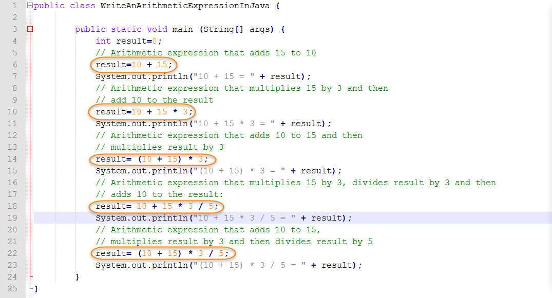 Java Source for Arithmetic Expressions