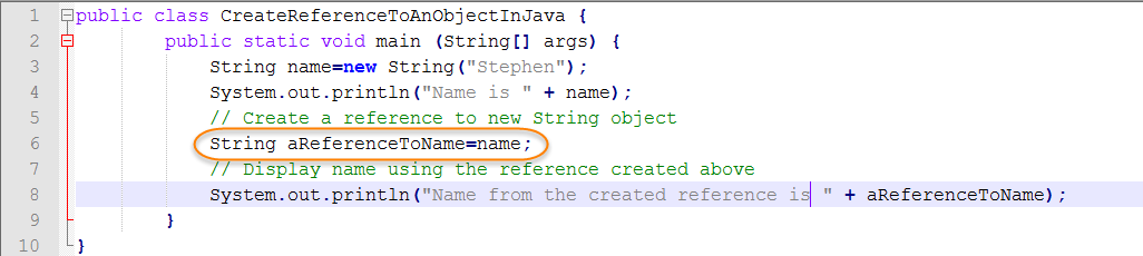 Java Source for Create Reference
