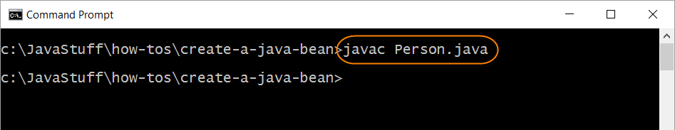 Compile Person Java Bean