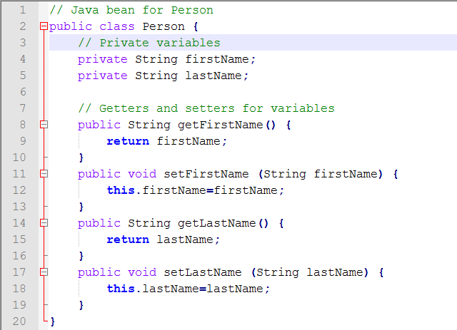 Java Source for Create Java Bean