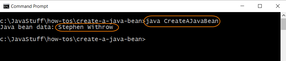 Run Program to Create Java Bean