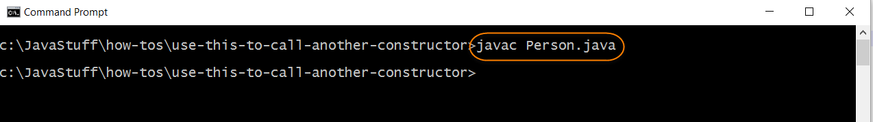 Compile Use this Call Another Constructor Person