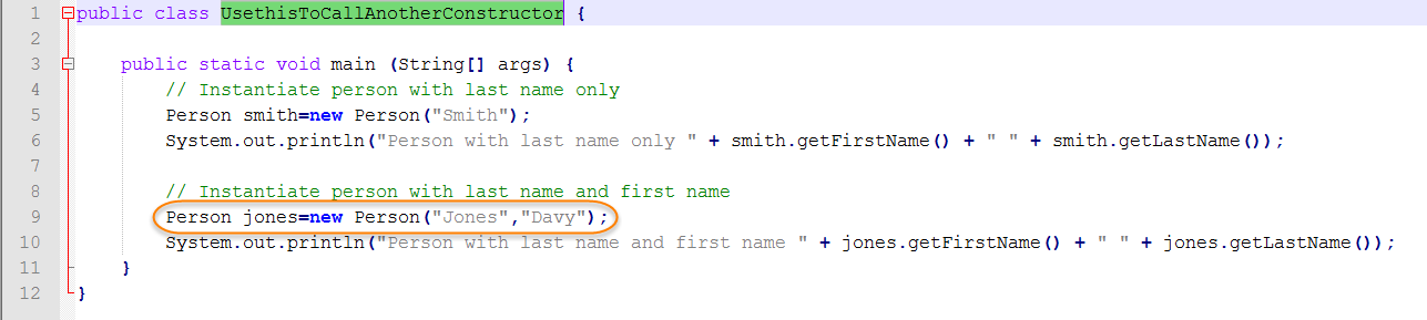 Java Source for Use this Call Another Constructor
