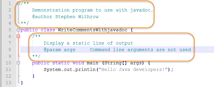Java Source for Write Comments with Javadoc
