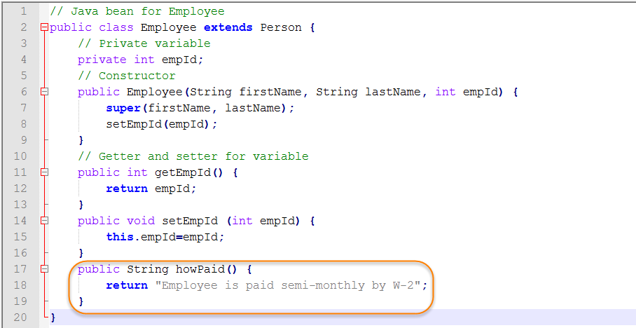 Java Source for Derived Class