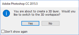 3-D Workspace Message