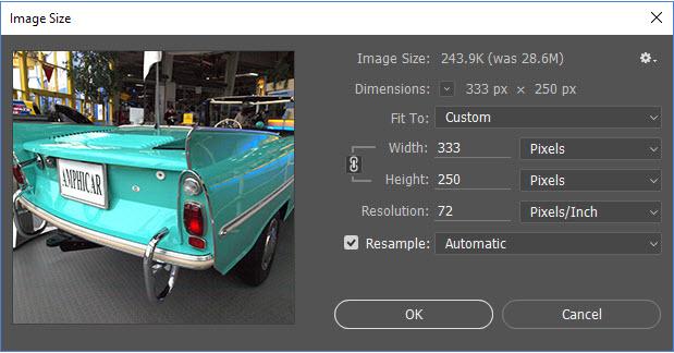 Image Size Dialog Box