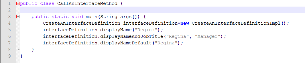 Java Source for Calling Interface Methods